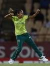 Shabnim Ismail is pumped up after taking a wicket, South Africa Women v Sri Lanka Women, Women's World T20, Group A, Gros Islet, November 12, 2018