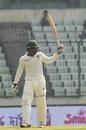 Brian Chari raises his bat after reaching a half-century, Bangladesh v Zimbabwe, 2nd Test, Mirpur, 3rd day, November 13, 2018