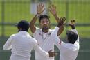 Suranga Lakmal celebrates with his team-mates, Sri Lanka v England, 2nd Test, Pallekele, 1st day, November 14, 2018