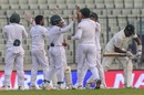 Bangladesh celebrate Hamilton Masakadza's dismissal, Bangladesh v Zimbabwe, 2nd Test, Dhaka, 4th day, November 14, 2018