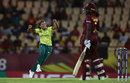 Shabnim Ismail celebrates removing Stafanie Taylor, West Indies v South Africa, Women's World T20, Group A, St Lucia, November 14, 2018