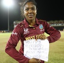 Afy Fletcher poses with a message for her mother, West Indies v South Africa, Women's World T20, Group A, St Lucia, November 14, 2018