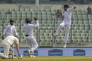 Mehidy Hasan is overjoyed after picking up a wicket, Bangladesh v Zimbabwe, 2nd Test, Mirpur, 5th day, November 15, 2018