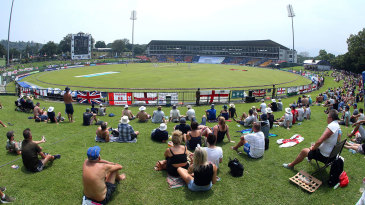 Spectators on the grass banks at Pallekele