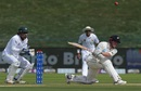 Henry Nicholls goes hard with a sweep shot, Pakistan v New Zealand, 1st Test, Abu Dhabi, 1st day