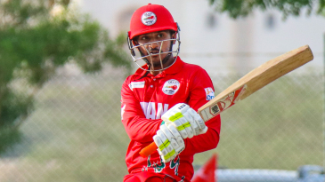 Aqib Ilyas plays a trademark wristy pull behind square for a boundary