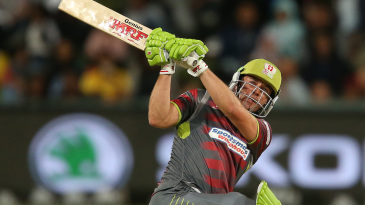AB de Villiers goes for an unorthodox shot