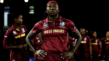 West Indies captain Stafanie Taylor waits to lead her team out onto the field