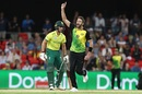 Andrew Tye celebrates Chris Morris' wicket, Australia v South Africa, only T20I, Carrara Oval, November 17, 2018