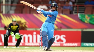 Smriti Mandhana crunches a pull to the boundary