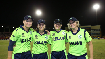 Clare Shillington, Isobel Joyce, Cecelia Joyce and Ciara Metcalfe sport a smile after retiring from international cricket