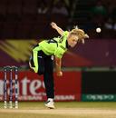 Kim Garth in her follow-through, Group B, Women's World T20 2018, Guyana, November 17, 2018