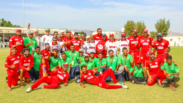 Oman Cricket's entire staff took part in the squad's celebrations after winning Division Three