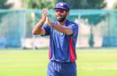 Captain Saurabh Netravalkar reciprocates applause from team-mates after his three-for, Singapore v USA, ICC World Cricket League Division Three, Al Amerat, November 19, 2018