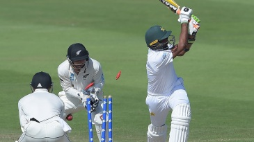 Bilal Asif gets bowled as he looks to go big