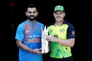 Virat Kohli and Aaron Finch with the T20I series trophy, Brisbane, November 20, 2018