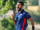 Ali Khan roars with delight during his fiery new ball spell, Kenya v USA, ICC World Cricket League Division Three, Al Amerat, November 12, 2018
