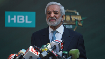 PCB chairman Ehsan Mani speaks at the PSL 2019 draft