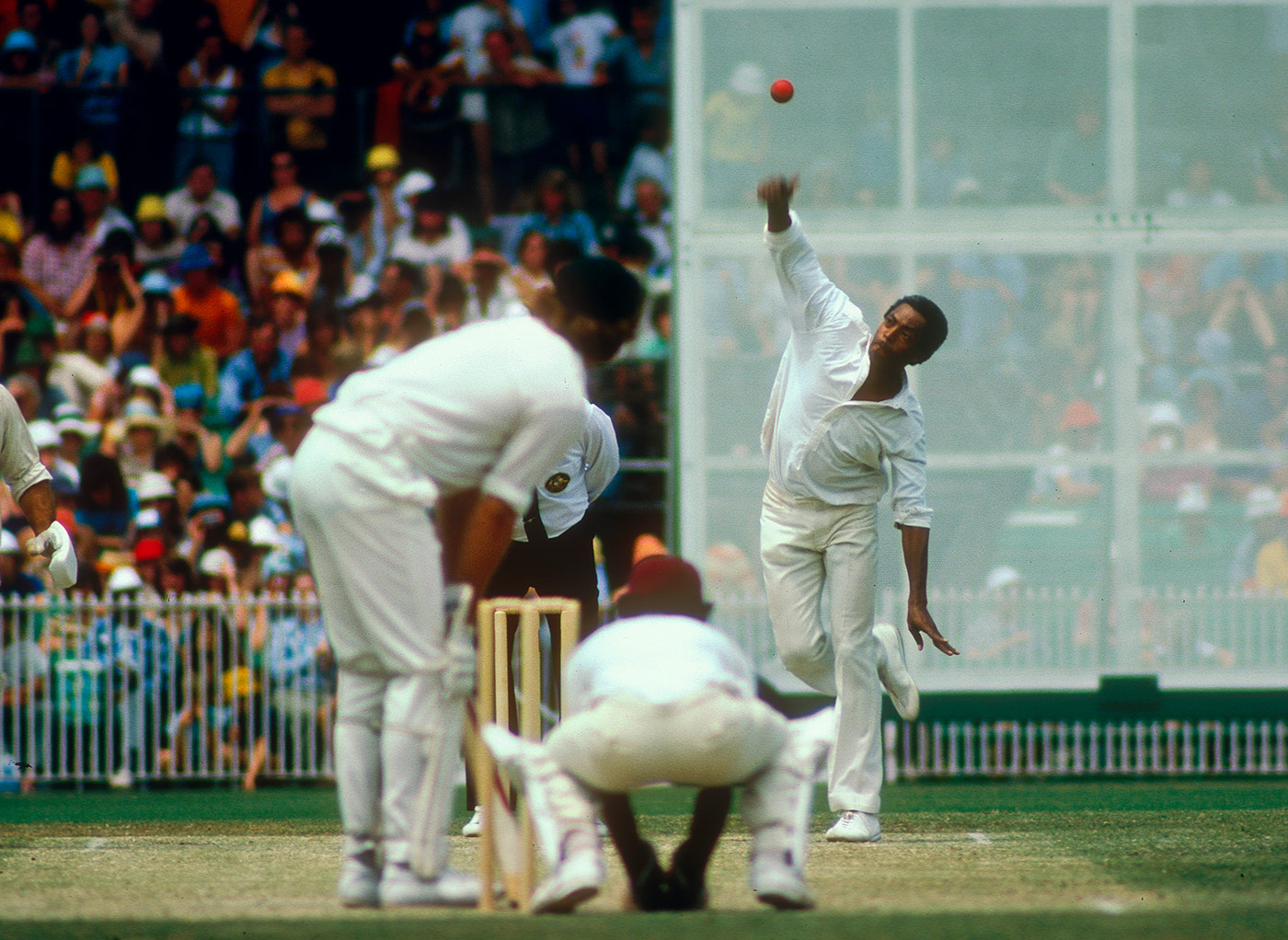 From on high: Gibbs bowls in the Melbourne Boxing Day Test of 1975