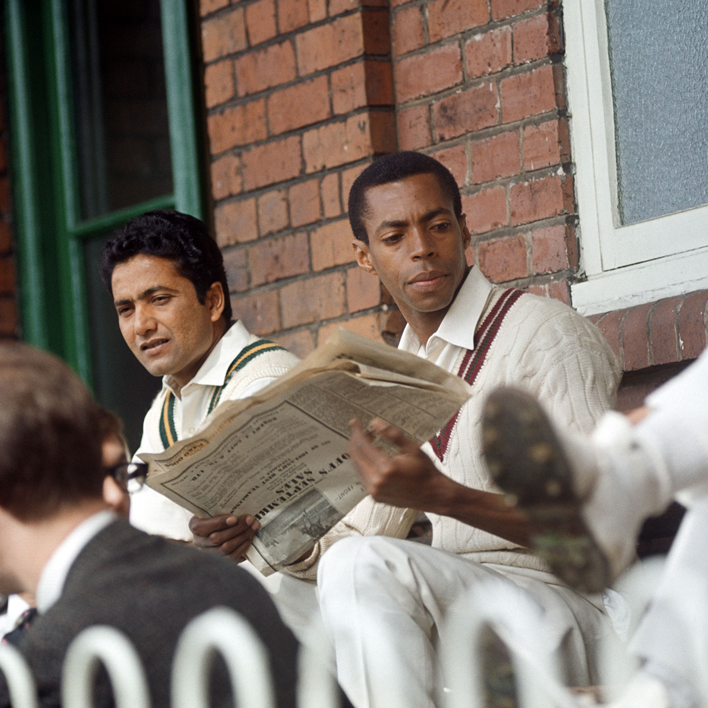 Gibbs with Hanif Mohammad, waiting his turn to bat for Rest of the World against an England XI in Scarborough, 1965