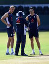 Stuart Broad and James Anderson chat with coach Trevor Bayliss, SSC, Colombo, November 21, 2018