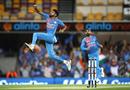 Khaleel Ahmed celebrates a wicket, Australia v India, 1st T20I, Brisbane, November 21, 2018
