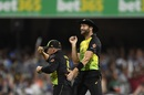 Aaron Finch and Andrew Tye celebrate a wicket, Australia v India, 1st T20I, Brisbane, November 21, 2018