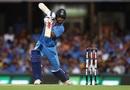 Shikhar Dhawan drives, Australia v India, 1st T20I, Brisbane, November 21, 2018