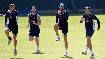 England warm up during training in Colombo
