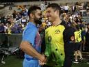 Virat Kohli and Marcus Stoinis exchange post-match pleasantries, Australia v India, 1st T20I, Brisbane, November 21, 2018