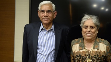 Diana Edulji and Vinod Rai emerge from a CoA meeting