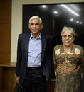 Diana Edulji and Vinod Rai emerge from a CoA meeting, Mumbai, January 31, 2017