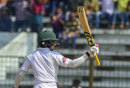 Mominul Haque raises his bat after bringing up fifty, Bangladesh v West Indies, 1st Test, Chattogram, 1st day