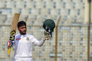 Mominul Haque raises his bat after bringing up his hundred, Bangladesh v West Indies, 1st Test, Chattogram, 1st day