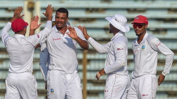 Shannon Gabriel celebrates with his team-mates
