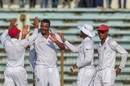 Shannon Gabriel celebrates with his team-mates, Bangladesh v West Indies, 1st Test, Chattogram, 1st day
