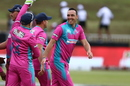 Kyle Abbott celebrates with his team-mates, Durban Heat v Tshwane Spartans, MSL 2018, Durban, November 21, 2018