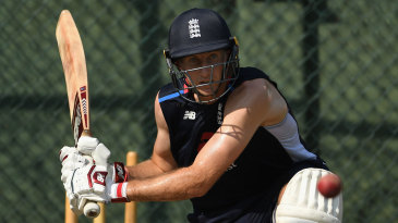 Joe Root sweeps in the nets at Colombo