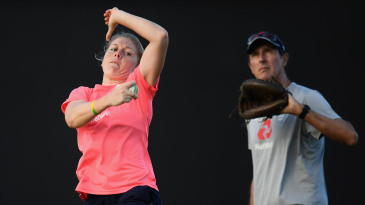 Heather Knight practises her bowling in the nets