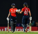 Natalie Sciver and Amy Jones punch gloves, England v India, Women's World T20, 2nd semi-final, North Sound, November 22, 2018