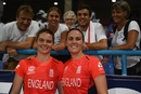 Natalie Sciver and Amy Jones soak in England's win, England v India, Women's World T20, 2nd semi-final, North Sound, November 22, 2018