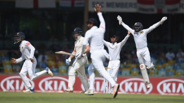 The Sri Lanka players appeal unsuccessfully against Jonny Bairstow