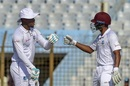 Shimron Hetmyer punches gloves with Shane Dowrich after reaching a half-century, Bangladesh v West Indies, 1st Test, Chattogram, 2nd day