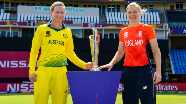Meg Lanning and Heather Knight pose with the 2018 Women's World T20 trophy