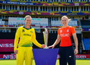 Meg Lanning and Heather Knight pose with the 2018 Women's World T20 trophy, North Sound, November 23, 2018