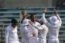 Shannon Gabriel celebrates with his team-mates after sending back Mushfiqur Rahim, Bangladesh v West Indies, 1st Test, Chattogram, 3rd day