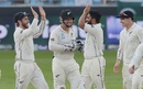 Ajaz Patel and Kane Williamson celebrate a wicket, Pakistan v New Zealand, 2nd Test, Dubai, 2nd day, November 24, 2018