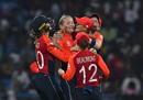 Sophie Ecclestone is mobbed by her team-mates, England v Australia, Women's World T20 final, Antigua, November 24, 2018