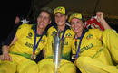 Elyse Villani, Ellyse Perry and Sophie Molineux with the trophy, England v Australia, Women's World T20 final, Antigua, November 24, 2018