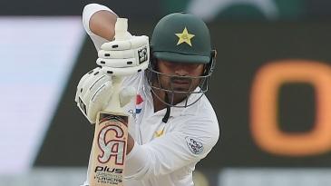 Haris Sohail drives the ball straight